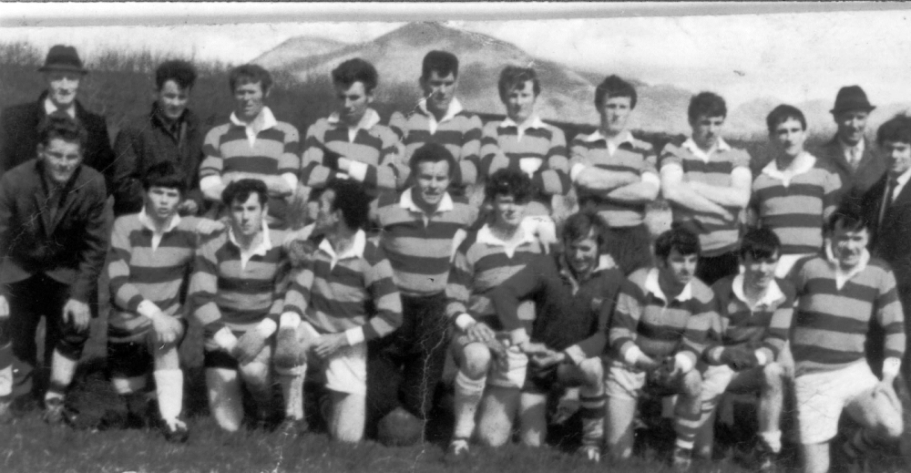 Back Row (L to R) Stephie Salmon (Selector), Willie Gannon (Selector), Charlie O Malley, Johnny Salmon, Mick Molloy, Patrick Anthony Conneely, Vincent O Malley, Padraic Hynes, Fr Gibbons, Thomas ''Sailor'' Flaherty (Selector) and Patrick Salmon (Selector). Front Row (L to R) Paddy Gannon (Selector), Sean Coyne, Dermot McDonnell, Paddy Fitzpatrick, Johnny Fitzpatrick, Paul Joyce, John O Malley, Fr Cosgrave, Michael Joyce and Fr Gibbons.  Photo courtesy of Renvyle GAA.