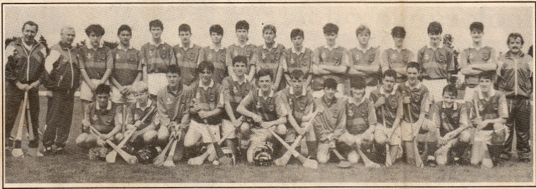 The Mayo Team, Panel and Officials, pictured after Mayo defeated Louth in the 1991 U-16 Special Hurling Final in Athlone. Joe Rogan is pictured on the extreme left in the front row.  Photo courtesy of Joe Rogan