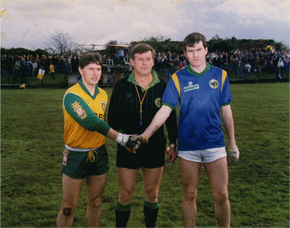 Pleased To Meet You! London- based Galway referee, Stephen Thomas Kane oversees the pre-match handshake of rival captains Martin McHugh, left (Donegal) and Kerry's Sean Burke at the official opening of Ruislip last Sunday  Irish Post  October 31st 1992