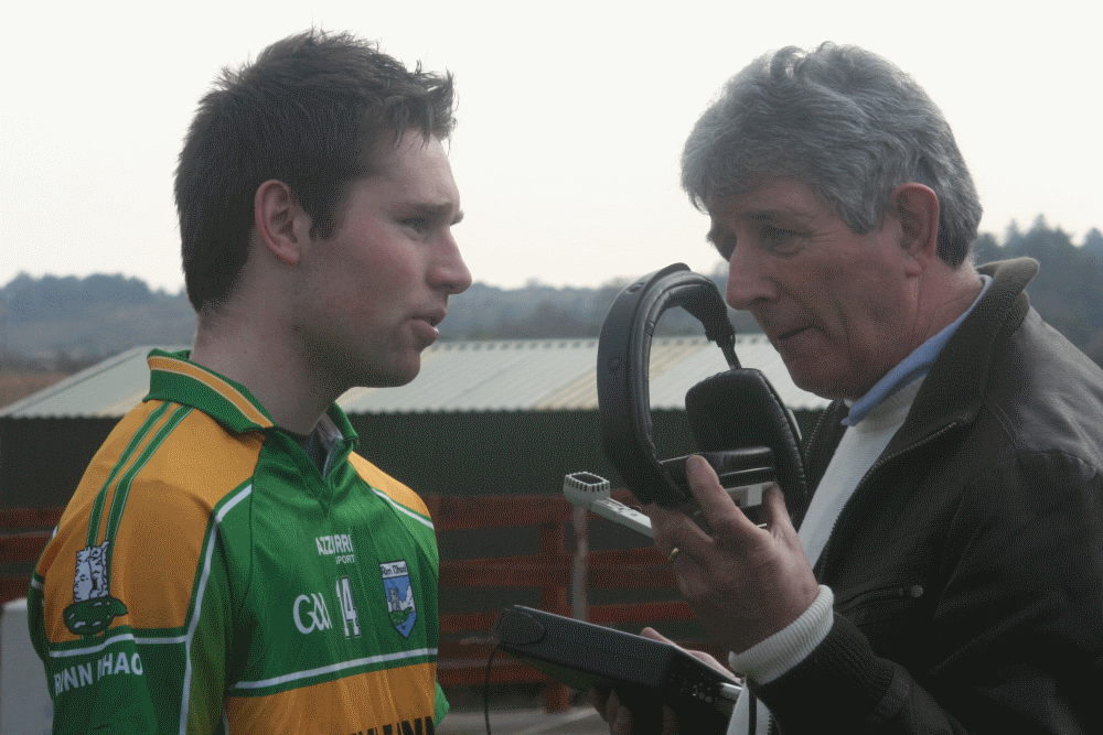 Brendan Ridge interviews Renvyle's Cathal O Neill after his sides 2011 West Board Under 21B Championship Final victory over Oileáin Árainn.  Photo courtesy of Stephanie Salmon Photography