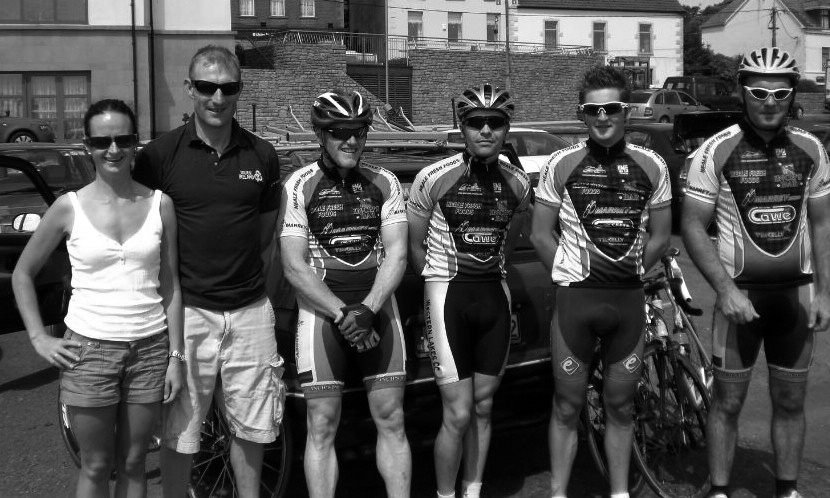 Team Western Lakes pictured at the 2009 Rás Donegal in Killybegs (L to R): Mary Mulchrone, Ballinrobe (Official Driver); Padraig Marrey, Ballinrobe (Team Manager); John James Flaherty (Renvyle); Mark Quigley (Partry); Brian Dowling, Dublin(Guest Rider); Joe Marrey (Ballinrobe). Photo courtesy of John James Flaherty.