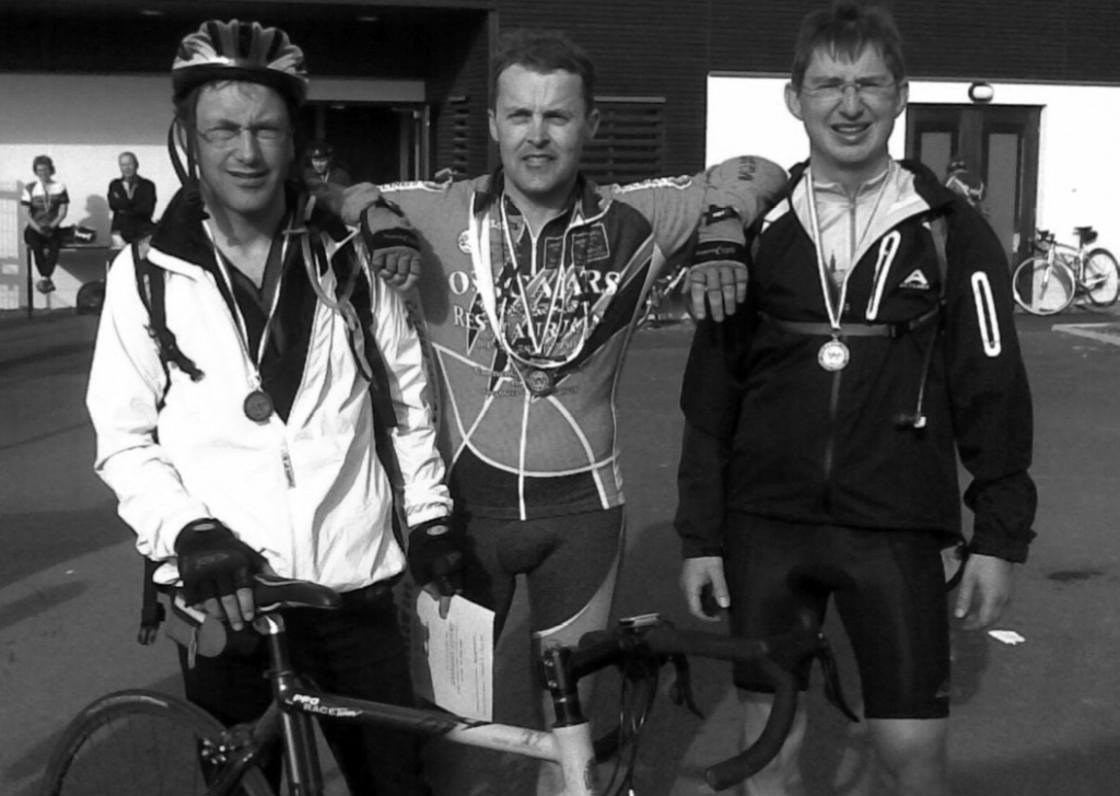 Gavin Evans, Michael Gannon and Damien Evans on completion of the Wicklow 200km Challenge in 2009. Photo courtesy of Michael Gannon.