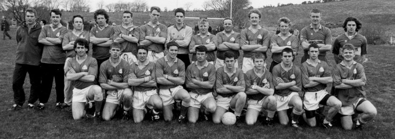 Renvyle Squad pictured prior to their Comortas Peil naGaeltachta quarter final victory over An Cheathru Rua on the day of the official reopening of Tullycross Sportsfield in 1996. Back Row (L to R): Shane O'Neill, Michael Gannon, Johnny Kane, Joachim Lydon, Gerry Gannon, Finian Sheridan, Jim O'Neill, James Flaherty, Alan Flaherty, Kevin Kane, Stephen Flaherty, Mick Hurley and Brendan Flaherty. Front Row (L to R): Johnny Coyne, Adrian O'Neill, Kenneth Wallace, James Kane, John McGrail, Benny Kane, Colm Conneely, David Walsh, Danny Faherty and Paul Gannon. Photo courtesy of Johnny Coyne.