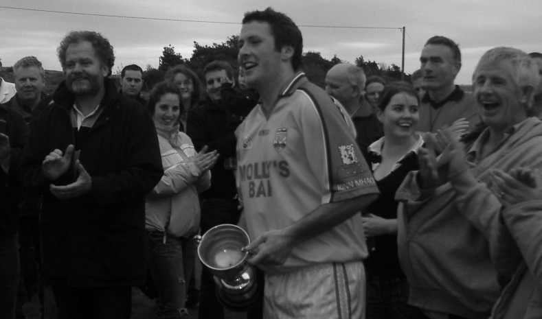 Renvyle Captain Stephen Heanue delivers the post match oration after his side had qualified for a County Junior A League Final showdown with Annaghdown in 2007.