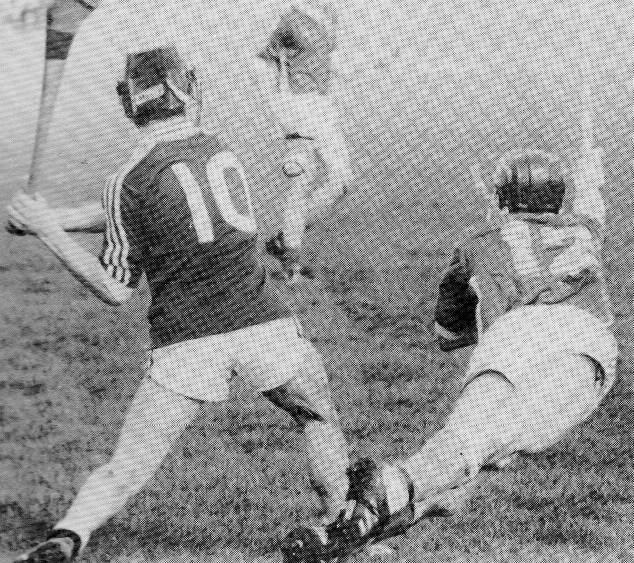 A classic action shot of St Jarlaths wing forward Gerry Gannon as he endeavours to block the shot of his Presentation College, Athenry, opponent during the 1991 Connacht Senior B Hurling Championship final. Photo courtesy of Torch Magazine.