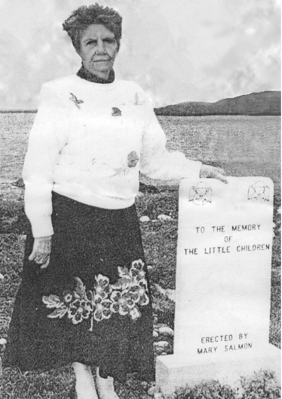 Prayer answered…Mary Salmon by the memorial stone to her two children.