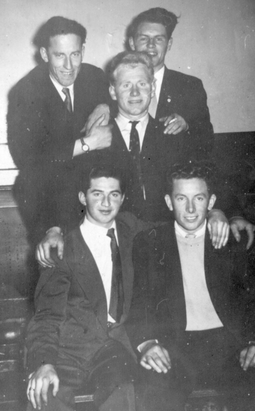 Picture: Paddy Gannon with friends in the Sharrocks Dance Hall in Manchester, 1955.